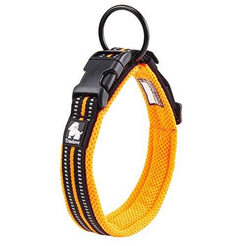 Pettom Adjustable Nylon Pet Collar Padded 4/5 Large 3M Reflective Dog Collar with Ring(Orange, Medium)