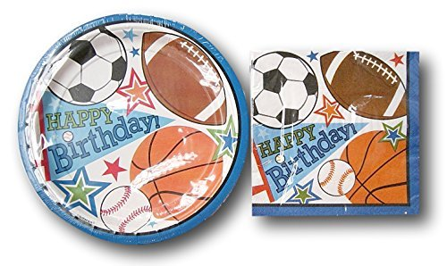 Party Impressions Sports Boys Birthday Party Supply Kit - Plates and (Sports Party Plates)