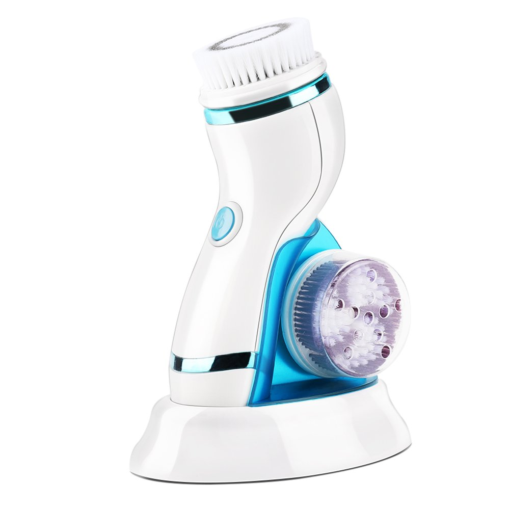 Electric Facial Cleansing Brushes 4 in 1 Waterproof Face Cleanse Massager with Stand 4 Massaging Heads for Blackhead Acne Exfoliating Face Skin Care Tools(Blue) Sonew