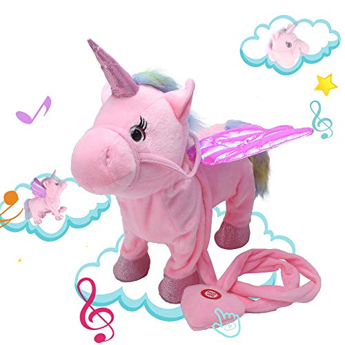 Alpacasso Musical Unicorn Toys, Singing and Walking Pegasus Pony Electronic Toys. (Pink) ()