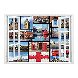 SCOCICI Removable Wall Sticker/Wall Mural/England,England City Red Telephone Booth Clock Tower Bridge River British Flag with Flowers,Blue Red/Wall Sticker Mural