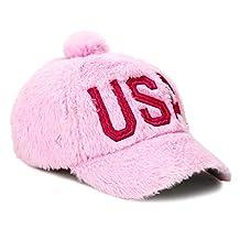 USA Cute Fur PomPom Hat Adjustable Baseball Cap