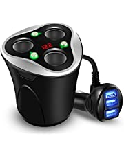 Skyocean 3 Socket Cigarette Lighter Splitter Power Adapter + 3 USB Car Charger 120W 12V/24V DC Outlet with Volt Meter, On/Off Switch for Cell Phone GPS Dash Cam & All Electronic Devices (Black)