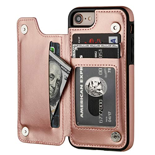 iPhone 8 Wallet Case with Card Holder,OT ONETOP iPhone 7 Case Wallet Premium PU Leather Kickstand Card Slots,Double Magnetic Clasp and Durable Shockproof Cover 4.7 Inch (iPhone 7/iPhone 8 Rose Gold) (Cash For Used And Broken Cell Phones)