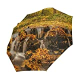 Mejalkrae Fallen Leaves In The Lake Compact Travel Umbrella Windproof Waterproof Auto Open and Close Button