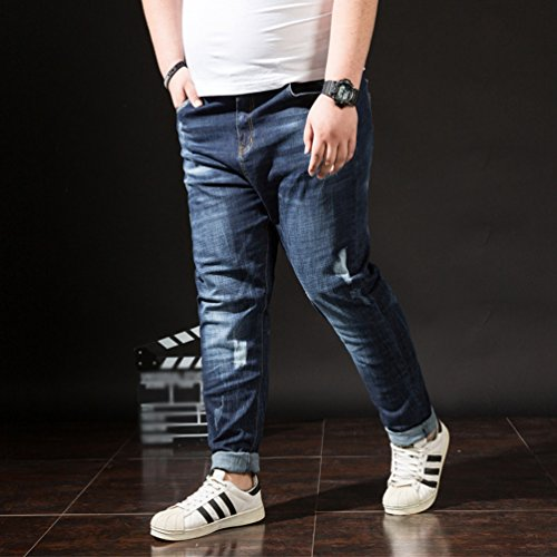 Elasticidad Pernera Extra Talla Hombre Jeans Pantalones YAANCUN Recta Vaqueros Azul Vaqueros Agujeros Azul40 Desgarrar wq48Hzcg