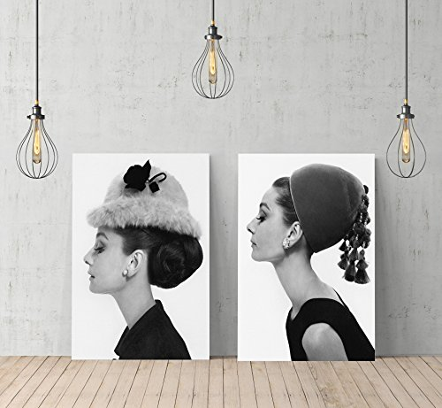 Audrey Hepburn Side Profile Elegance TWO PIECE SET Canvas Print Decorative Art Modern Wall Décor Artwork Wrapped Wood Stretcher Bars - Ready to Hang - %100 Handmade in the USA