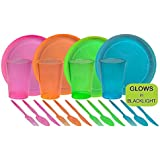 Tiger Chef 80-Piece Neon Assorted Glow Party Supplies Includes Neon Assorted Colors Hard Plastic Plates, Cups and Cutlery in