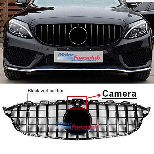 MOTORFANSCLUB Hood Grille Front Grill Fits for Mercedes Benz C Class C200 C250 C300 C350 W205 2015-2018 AMG GT R Style Grill W/Camera Chrome Black(With Camera Hole)