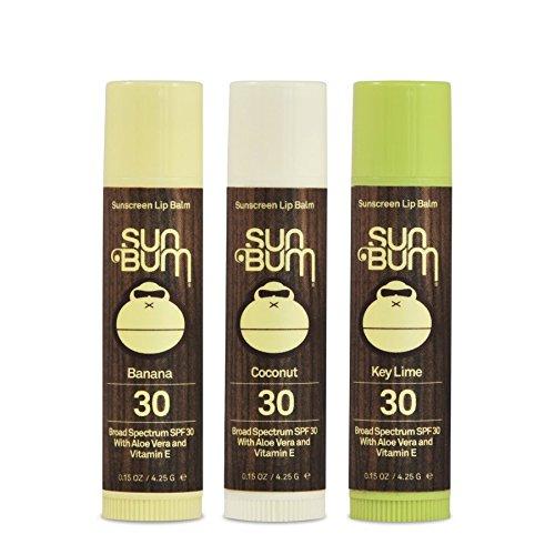 Sun Bum SPF30 Lip Balm Banana, Coconut, Lime 3 Pack