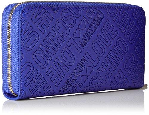 Love Moschino - Portafogli Embossed Pu Blu, Carteras de mano Mujer, Blau (Blue), 10x20x3 cm (W x H D)