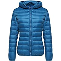 Wantdo Women's Hooded Packable Ultra Light Weight Short Down Jacket (Acid Blue)