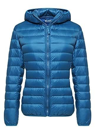 Wantdo Women's Hooded Packable Ultra Light Weight Down Coat Short Outwear(Acid Blue,US X-Small)