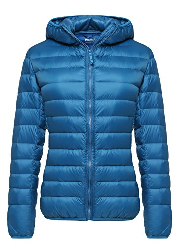 Wantdo Women's Hooded Packable Ultra Light Weight Down Coat Short Outwear(Acid Blue,US -