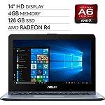 ASUS Vivobook 2019 Premium 14 HD Non-Touch Laptop Notebook Computer, 2-Core AMD A6 2.6GHz, 4GB DDR4 RAM, 128GB SSD, No DVD, Wi-Fi|Bluetooth|Webcam|HDMI|VGA, Windows 10 3