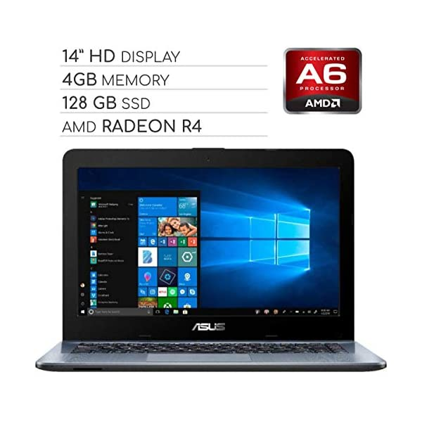 ASUS Vivobook 2019 Premium 14 HD Non-Touch Laptop Notebook Computer, 2-Core AMD A6 2.6GHz, 4GB DDR4 RAM, 128GB SSD, No DVD, Wi-Fi|Bluetooth|Webcam|HDMI|VGA, Windows 10 1