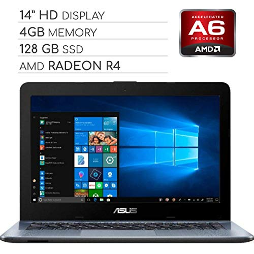 ASUS Vivobook 2019 Premium 14 HD Non-Touch Laptop Notebook Computer, 2-Core AMD A6 2.6GHz, 4GB DDR4 RAM, 128GB SSD, No DVD, Wi-Fi|Bluetooth|Webcam|HDMI|VGA, Windows 10