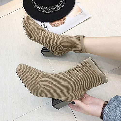 Carré De Talon Pompes Métal Tricoté Automne Veau En Mi Chaussures Basla Femme Bout De Kaki Hiver Botines Pompes Haute Bottes Mode Élastique Tacón W10vHUq