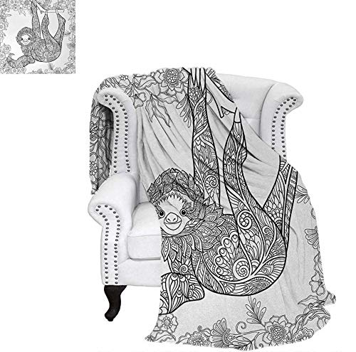 - Super Soft Lightweight Blanket Outline Drawing of Sloth in Jungle Zoo Animal with Ornamental Details and Flowers Oversized Travel Throw Cover Blanket 80