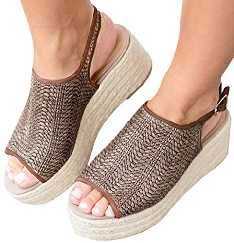 Snowchers Womens Espadrilles Platform Wedge Buckle Woven Peep Toe Sandals Brown US 8