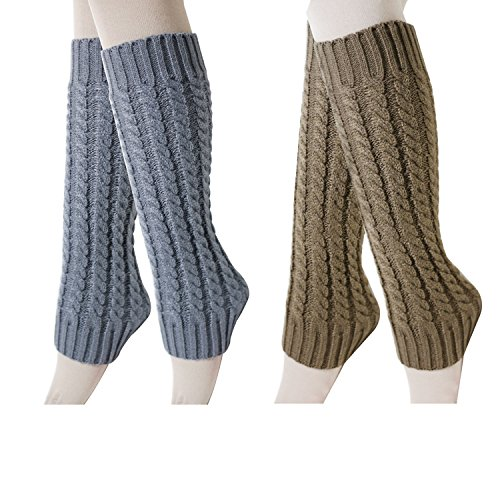 2 Pack of Womens Cable Knit Leg Warmers Knitted Crochet Long Socks (Adult Leg Warmers)