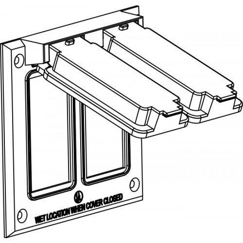 Orbit 2C-2G-W Electric Box Cover, Decora Receptacles Zinc Weatherproof – 2-Gang – White