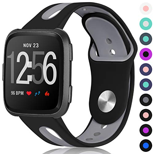 Maledan for Fitbit Versa Bands Women Men, Small, Black Grey