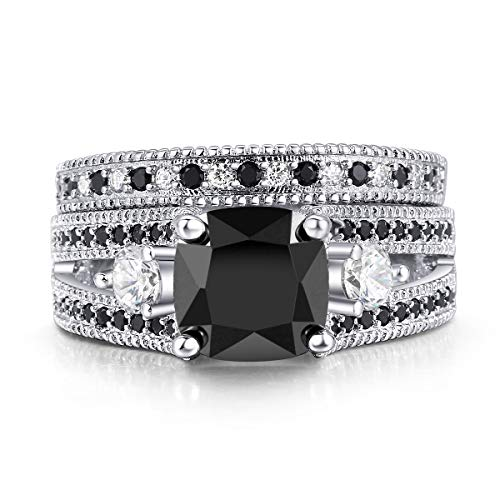 Double Fair White or Black Gold Plated Cushion Cut Black CZ Stone Engagement Promise Anniversary Ring Sets for Women (Silver, 7)