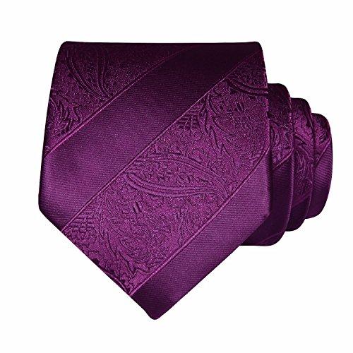 Necktie Purple Woven Men's Square Set amp; 2 Handkerchief Tie BIYINI Classic Paisley Pocket PxYXwX