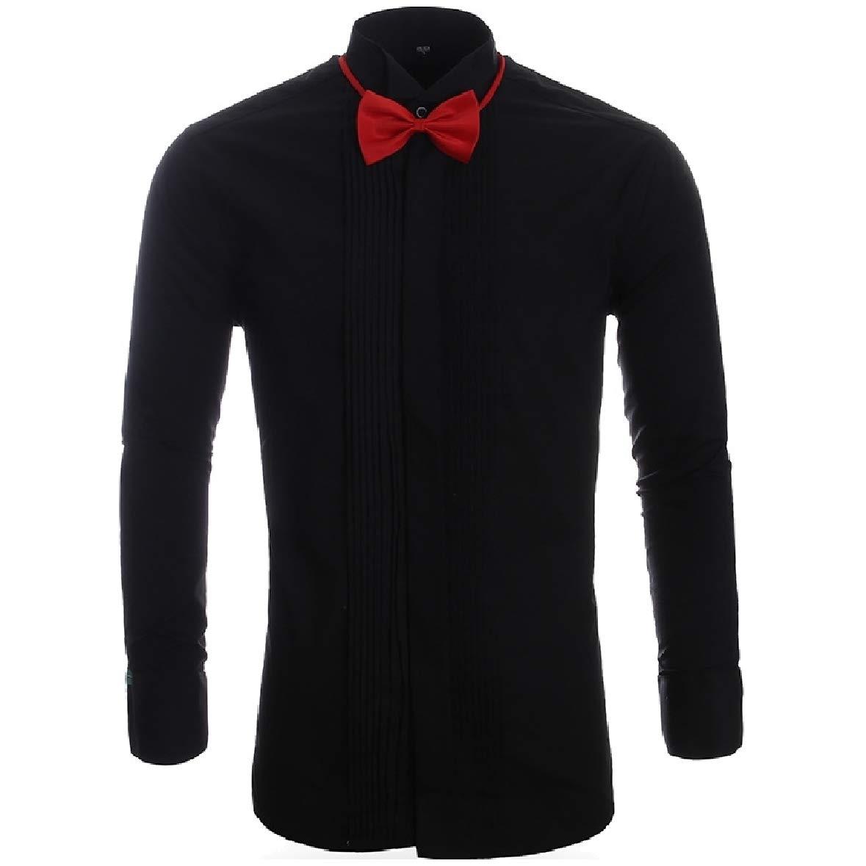 Tootless-Men Stand Collar Wedding Draped Plus-Size Long-Sleeve Top Tshirt Shirt