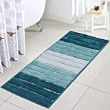 Best Bath Rugs - Uphome Bath Rug Runner Luxury Blue Striped Shaggy Review