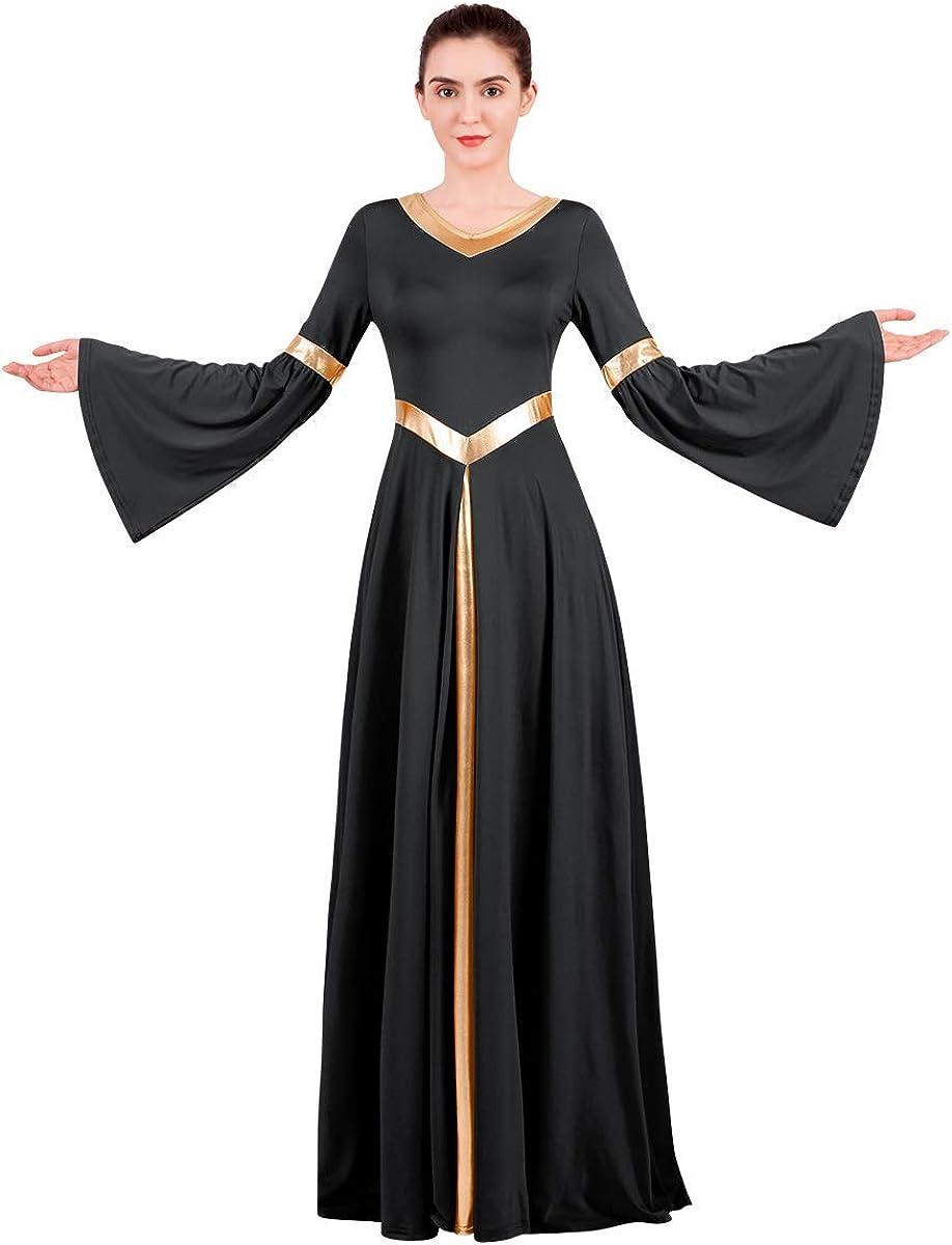 Women Metallic V Neck Praise Dance Dress Liturgical Worship Costume Bi Color Bell Long Sleeve Church Robe Praisewear