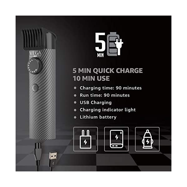 VEGA Men X2 Beard Trimmer For Men With Quick Charge, 90 Mins Run-time, Waterproof, For Cord & Cordless Use And 40 Length… 2021 July High Performance Steel Blades: Vega X2 beard trimmer comes with corrosion-free & self-sharpening skin-friendly stainless-steel blades for a smooth and comfortable trim. Ideal for beard and moustache Hassle-Free charging for convenient use - Easy and On the GO charging with USB charging cable with laptop, power bank or adaptor. Ideal for daily use, travel, holiday, and business trips Designer Print: Comes with a unique Designer print body.