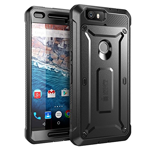 Nexus 6P Case, SUPCASE [Heavy Duty] Belt Clip Holster Case for Google Nexus 6P (2015 Release) [Unicorn Beetle PRO Series] Full-Body Rugged Hybrid Protective Cover with Screen Protector (Black/Black) (Nexus 6p Unicorn Beetle Hybrid Protective Case)