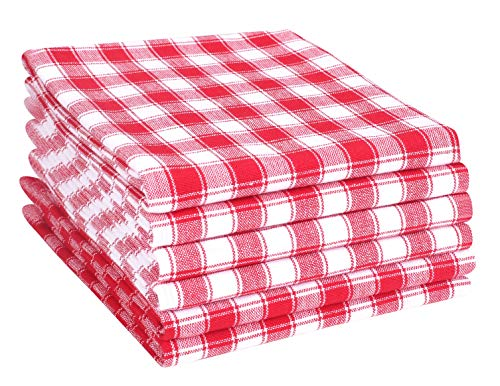 (Cotton Clinic 100% Cotton Gingham Buffalo Check Kitchen Dish Towels 6 Pack Extra Large 18x28 Dish Cloths, Bar Towels, Tea Towels and Cleaning Towels, Kitchen Towels with Hanging Loop, Red)