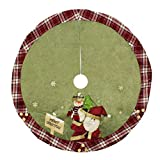 Christma Tree Skirt 48 inches Red Burlap with Snowflake...