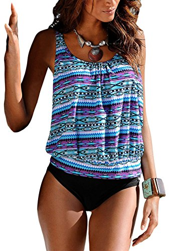 Swimwear Flattering (Women Strappy 2 Piece Padding Fashion New Tankini Bikini Bottoms Purple XL 14 16)