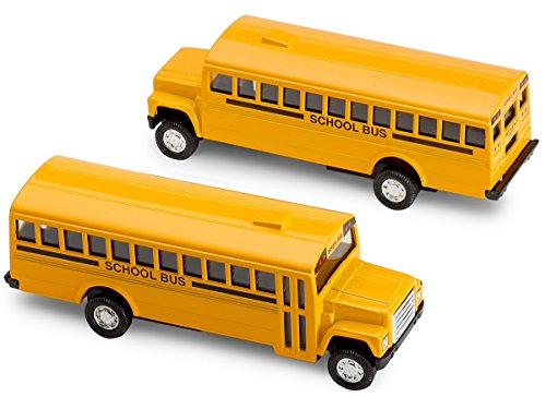 Kicko Diecast School Bus - 2 Pack Yellow 5 Inch Metal Write-on, with Pullback Action for Party Favors, Gifts, and Little Boys