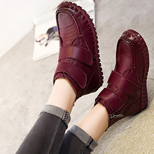 Flat Toe Mordenmiss Winter Style Burgundy Martin Boots Plain 1 New Womens Fall x0q0fBX4