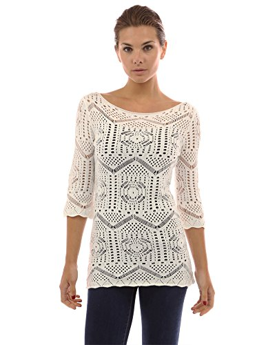 PattyBoutik Women's Crochet Open Stitch Tunic Knit Top (Off-White L) (Tunic Crochet Top)