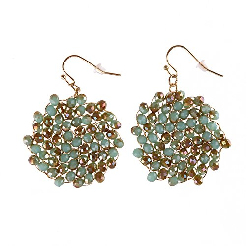 Niumike Crystal Circle Dangle Earrings For Women,Crystal Seed Hand Braided Drop Earrings Jewelry,1.38 IN Disk With Free Flannel Bag (Green&Brown)