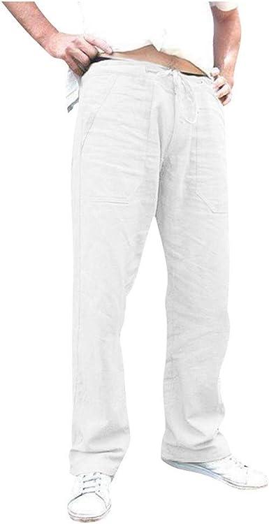 Pantalones De Pantalon Casuales Para Hombre Pantalon Lino Con Cordon Bolsillos Flojo Pantalones Largos Rectos Color Solido Comodo Y Suelto Pantalon Amazon Es Ropa Y Accesorios
