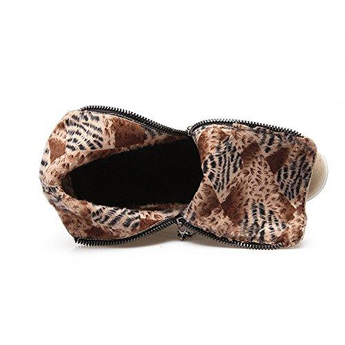 AdeeSu Girls Color Matching Thick Bottom Heel Platform Heighten Inside Frosted Boots Beige jSln3qE