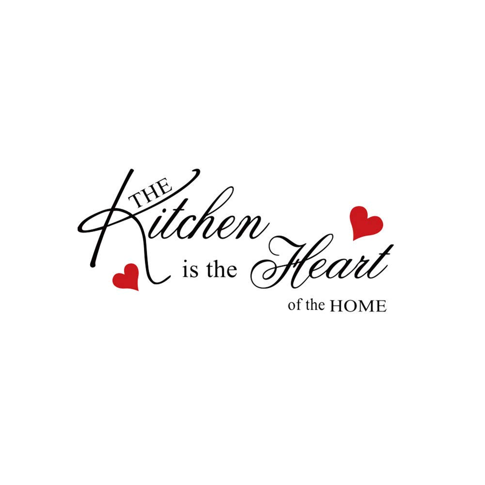 The Kitchen is The Heart of The Home Wall Sticker Removable Decal Home Decoration Wall Quote Sticker Art Mural Home Décor Quote DIY
