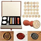 Seal Wax Kit,PUQU Vintage Initial Letters A-Z Alphabet Wax Badge Seal Stamp Kit Wax Set Tool Gift(W)