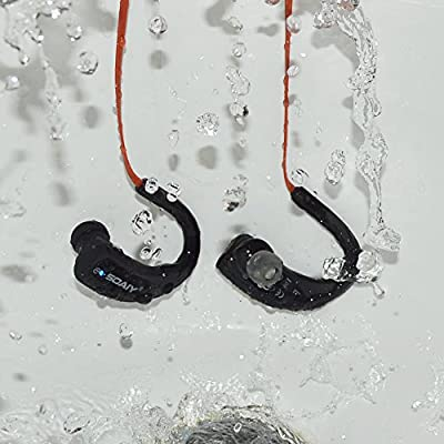 SOAIY® Waterproof Sweat-proof Sports Wireless Bluetooth 4.0 HD Stereo Headphones, In Ear Earphones Noise Canceling Headset with Mic, Earbuds for Running Jogging Hiking Workout Gym Exercise (Red)