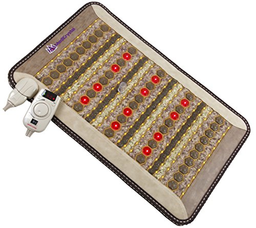 "Amethyst Jade Tourmaline FIR PEMF Photon Mat - Mini 32'L x 20""W - Adjustable 86-158F Far InfraRed Heating Pad - Bio Stimulation Red Light - Ion - Pulsed Magnetic Therapy - FDA Registered Manufacturer"