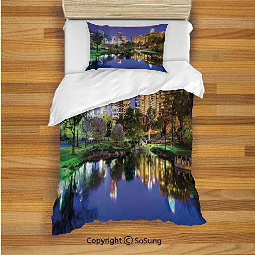City Kids Duvet Cover Set Twin Size, North Carolina Marshall Park United States American Night Reflections on Lake Photo 2 Piece Bedding Set with 1 Pillow Sham,Multicolor