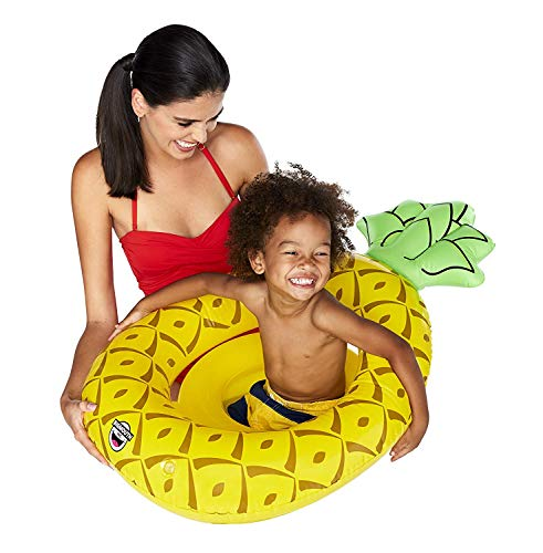 Petite Pineapple - Kiddie Petite Pineapple Lil' Float, Yellow Pineapple Pool Float for Kids Ages 1-3, Beginner Swimmers, Easy to Inflate, Durable