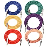 Neewer® 6-Pack 6.5 Ft/2M Durable Guitar Cables with 1/4 Inch Straight to Straight Plugs, Rubber Shielding and Copper Conductors (Green Blue Purple Red Yellow Orange)